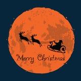 Санта и его северный олень на поздравительной открытке рождества предпосылки полнолуния иллюстрация штока