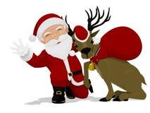 Санта и его северный олень Стоковые Изображения