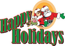 Санта и заголовок праздников эльфа девушки счастливый Стоковая Фотография RF