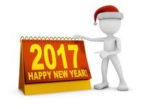 Санта и календарь 2017 Иллюстрация вектора