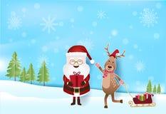 Санта и олени при подарочные коробки вытягивая сани с снегом и снегом иллюстрация вектора