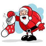 Санта и пакостный чулок Стоковые Фото