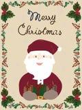 Санта и подарки Карточка с Рождеством Христовым бесплатная иллюстрация