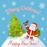Санта и рождественская елка Стоковые Фото