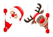 Санта и Рудольф внутри вертикального знамени иллюстрация штока