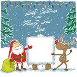 Санта и Рудольф с знаменем - иллюстрацией Стоковые Фотографии RF