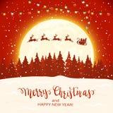 Санта и северный олень на красной предпосылке рождества стоковое изображение