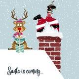 Санта и северный олень бесплатная иллюстрация