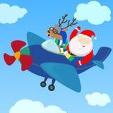 Санта и северный олень на самолете Иллюстрация вектора