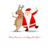 Санта и северный олень Стоковые Изображения RF