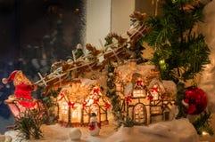 Санта и северный олень Стоковое Изображение