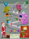 Санта и эльф делая подарок для с Рождеством Христовым предпосылки поздравительной открытки праздника Стоковая Фотография RF