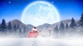 Санта Клаус бродяжничая через snowscape совмещенное с падая снегом иллюстрация вектора