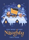 Санта Клаус в желтой тележке tipper на крыше разгржая уголь в печную трубу очень капризного ребенк небо klaus santa заморозка рож бесплатная иллюстрация