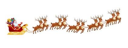 Санта Клаус в санях с северными оленями на на белой предпосылке С Рождеством Христовым и счастливое украшение Нового Года иллюстрация вектора