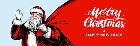 Санта Клаус держит большую сумку, эскиз иллюстрации вектора руки символа рождества вычерченный, каллиграфический текст иллюстрация штока