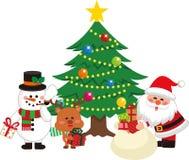 Санта Клаус и рождественская елка установили 1 Санта Клаус давая подарок от сумки иллюстрация вектора