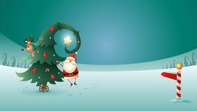 Санта Клаус и северный олень с рождественской елкой на ландшафте зимы Знак северного полюса стоковые фото