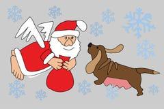 Санта Клаус и собака зодиака Стоковое Фото