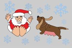 Санта Клаус и собака зодиака Стоковое Изображение RF