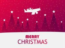 Санта Клаус летает в самолет над ландшафтом зимы с рождественскими елками Поздравительная открытка с падая снегом Красный градиен иллюстрация вектора