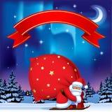 Санта Клаус лыжей нося большой красный мешок и красные agains ленты бесплатная иллюстрация