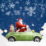 Санта Клаус на автомобиле Стоковая Фотография RF