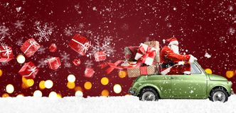 Санта Клаус на автомобиле Стоковая Фотография