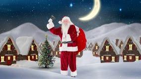 Санта Клаус перед украшенными домами в пейзаже зимы совмещенном с падая снегом иллюстрация вектора