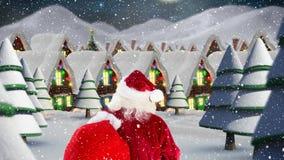 Санта Клаус перед украшенными домами совмещенными с падая снегом иллюстрация штока
