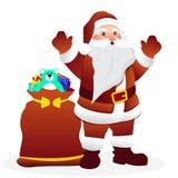 Санта Клаус поставляя подарок также вектор иллюстрации притяжки corel бесплатная иллюстрация