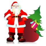 Санта Клаус, предпосылка рождества иллюстрация штока