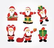 Санта Клаус принося собрание вектора подарков иллюстрация вектора