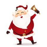 Санта Клаус при изолированный колокол звона Стоковые Изображения