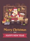 Санта Клаус сидя на столе в его мастерской делая игрушки для детей  иллюстрация вектора