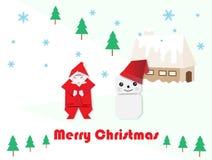 Санта Клаус, снеговик и ель для рождества бесплатная иллюстрация