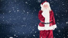 Санта Клаус совместил с падая снегом акции видеоматериалы