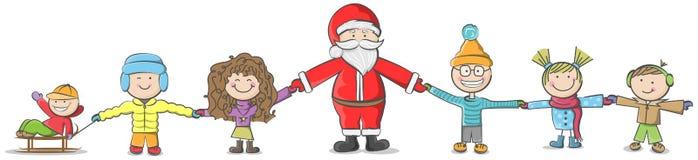 Санта Клаус с вектором детей иллюстрация вектора