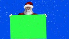 Санта Клаус с зелеными знаком и снежностями - зеленым влиянием голубого экрана иллюстрация вектора