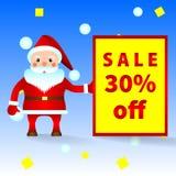 Санта Клаус с объявлением продажи, скидок иллюстрация вектора