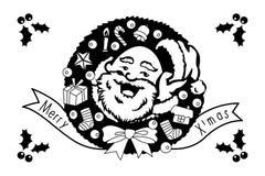 Санта Клаус с с Рождеством Христовым и счастливой поздравительной открыткой праздника Нового Года Стоковое Изображение