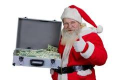 Санта Клаус с случаем 100 долларов Стоковое фото RF