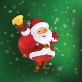 Санта Клаус с сумкой и колоколом подарка в руке Стоковые Изображения