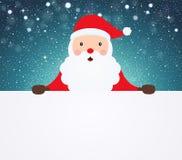 Санта Клаус указывая в белую пустую ткань на снежной предпосылке иллюстрация штока