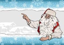 Санта Клаус указывая предпосылка Стоковые Изображения