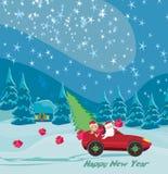 Санта Клаус управляя автомобилем с подарком рождества и красивой девушкой бесплатная иллюстрация