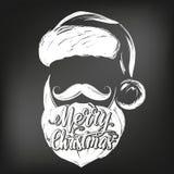 Санта Клаус, эскиз иллюстрации вектора руки символа рождества вычерченный, нарисованный в меле на черной доске иллюстрация штока