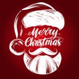 Санта Клаус, эскиз иллюстрации вектора руки символа рождества вычерченный, каллиграфический текст иллюстрация штока