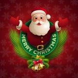 Санта Клаус давая большое объятие иллюстрация вектора