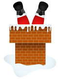 Санта Клаус входя в через печную трубу бесплатная иллюстрация